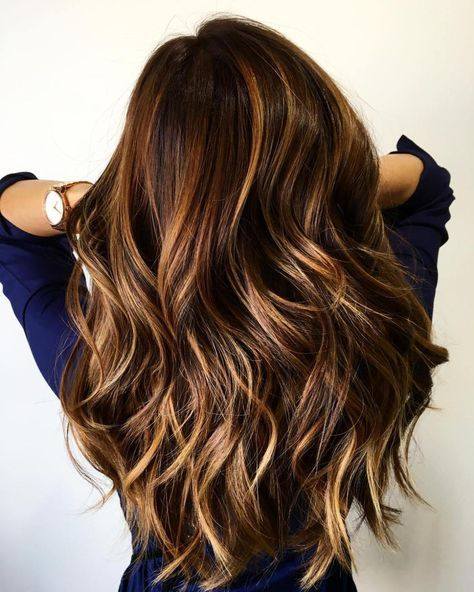 Long Brown Hair With Caramel Highlights Color!