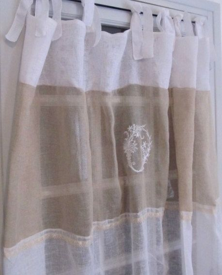 Paris Decor Monogram Curtain Sheer Linen Curtain French