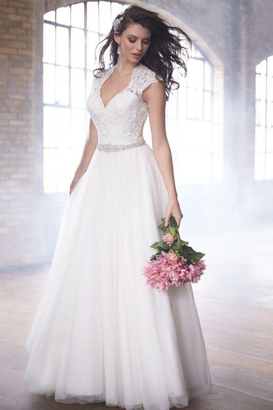 MJ172 Madison James Wedding Dress - Cap sleeves and a keyhole back adorn this A-line wedding dress.