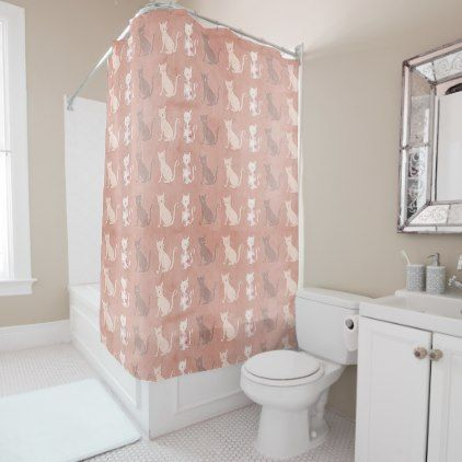 Cat Silhouette Pattern on Brown Shower Curtain - cat cats kitten kitty pet love pussy