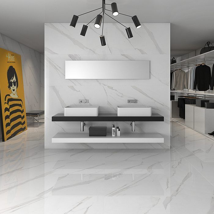 Who Said Marble Has To Be Traditional Check Out This Modern Interpretation With A Massive 24x48 Marbleize White Tile Floor Tile Floor Living Room White Floors #white #tiled #floor #living #room