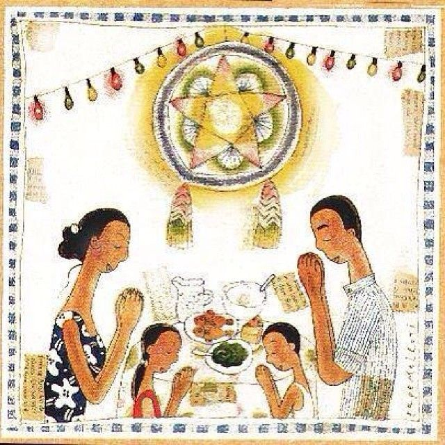 """I wanted to make a drawing of a """"Filipino Christmas"""" and this is what I came up with - a simple family together, giving thanks on Christmas Eve. I imagine that the father is a farmer and the mom is busy with household chores and nearby vegetable garden. I drew a modest Christmas dinner of fish (galunggong) and veggies (kangkong). Wishing you the best of the Christmas season! #thesketchingbackpacker #watercolor #sketchbook #sketch #drawing #illustration #sketchpad #art ..."""
