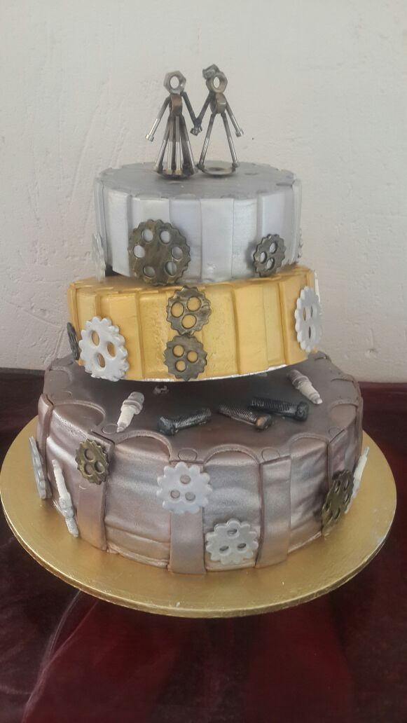 Steam Punk inspired 3 tier wedding cake with hand made special order topper by Altefyn Cakes