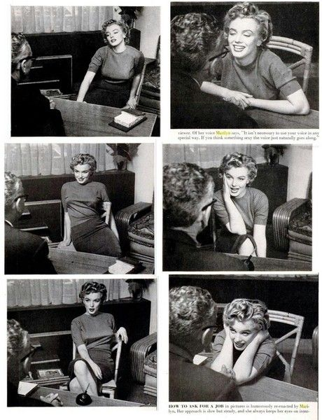 Marilyn in a 1952 interview for Life Magazine (Life 7 April 1952). Photos by Philippe Halsman.