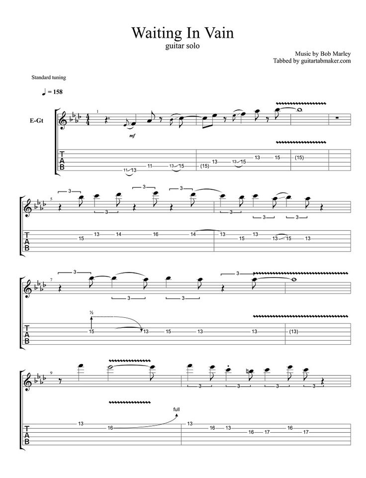 Bob Marley - Waiting In Vain guitar solo TAB - Guitar Pro TAB