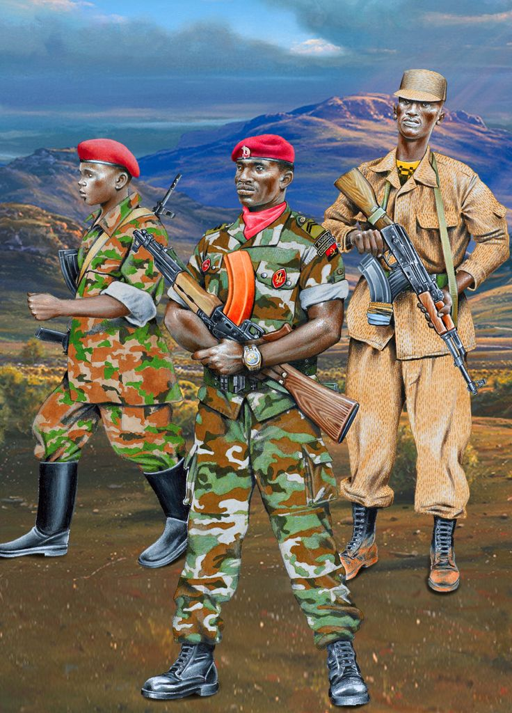 Troops of Angola and Rwanda during the Great African War of 1998-2002