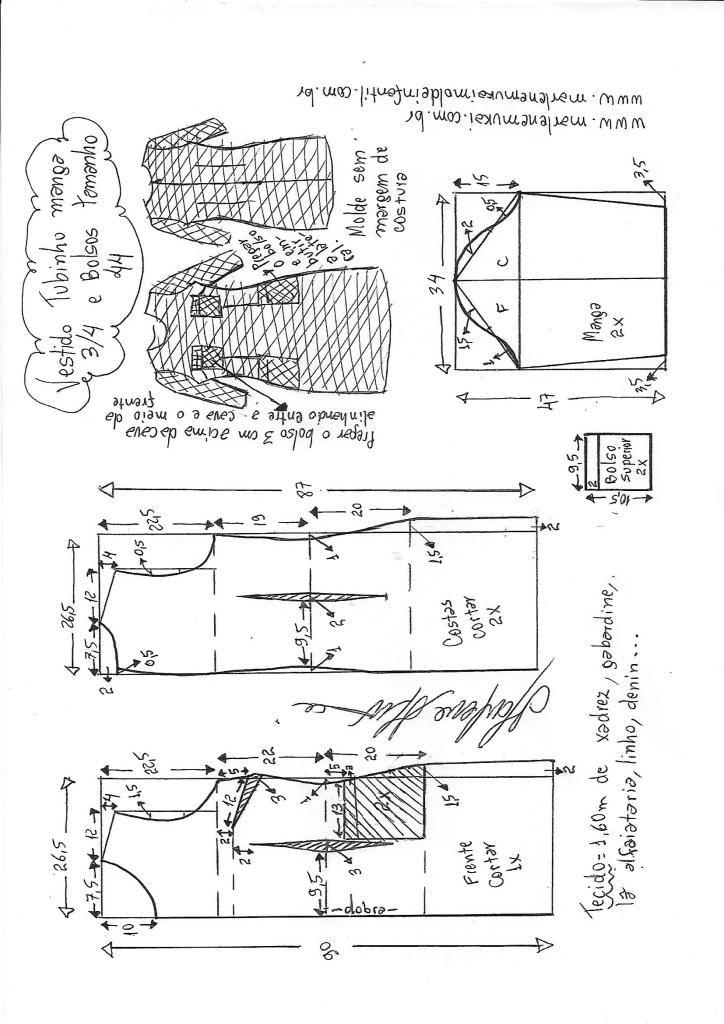 ad97f8dc93 Vestido tubinho manga 3 4 e bolsos
