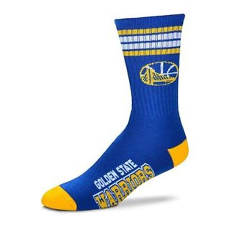 Authentic and 100% Officially Licensed, these are Golden State Warriors socks with ultra comfort. Great for all fans. - 83% Acrylic/14% Poleyster/2% Rubber/1% Spandex - Official Team Logos and Colors
