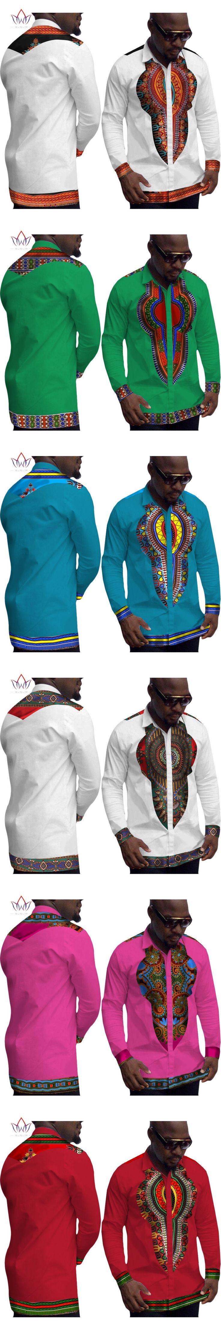 African Clothes for Men Mens Dress Shirt Dashiki Men Brand-Clothing Long Sleeve White Shirt Men Plus Size Clothing 6XL WYN152