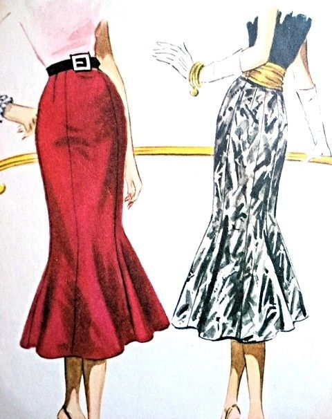 1950s Beautiful Slim Skirt Pattern McCalls 3675 Eye Catching Day or Evening Trumpet Flared Skirt and Cummerbund Striking Design Vintage Sewing Pattern Waist 28 FACTORY FOLDED