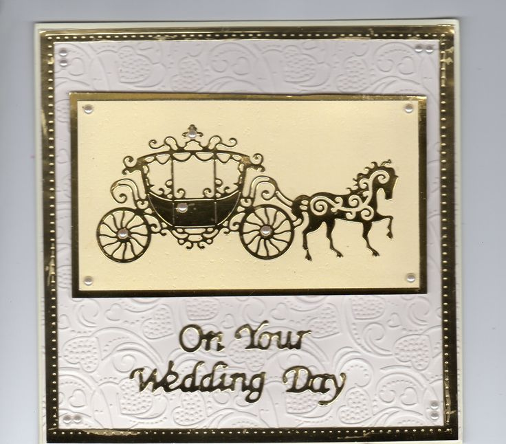 Tattered Lace horse and carriage wedding card