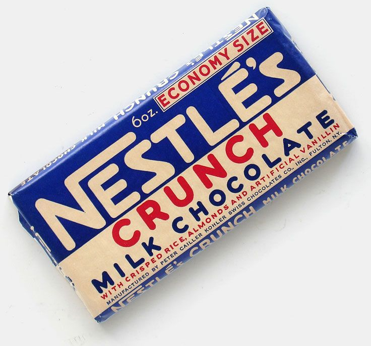 Vintage Nestle's Crunch chocolate bar (manufactured by Peter Cailler Kohler Swiss Chocolates Co., Inc., N.Y., USA, c. 1940). From 'The Box It Came In' at the web's largest private collection of antiques & collectibles: http://www.ericwrobbel.com/collections