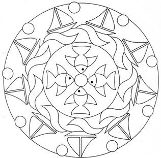 Simple ocean mandala to color. Posted on Jasmin's Kindergarten Blog (which is written in German) - I couldn't find an artist credited, but it is provided to print and color.