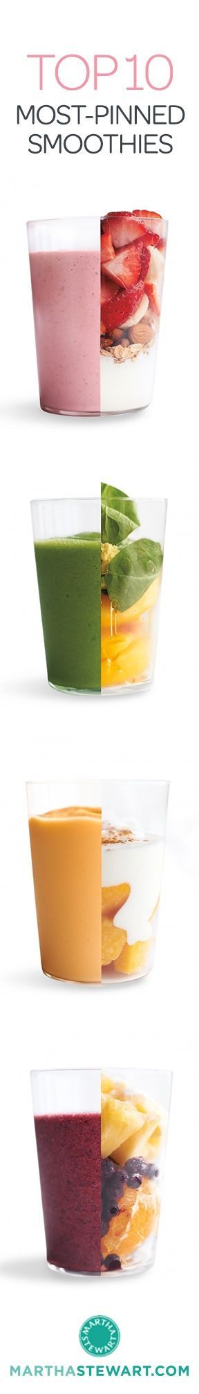 Most-Pinned: Our Top 10 Most-Pinned Smoothie Recipes | Martha Stewart Living - Packed with fresh fruits and veggies, smoothies are a great -- and delicious -- way to get your fill of energy-boosting proteins and healthy fats. Blend your way to better health with the top 10 most-repinned smoothies from our Pinterest boards.