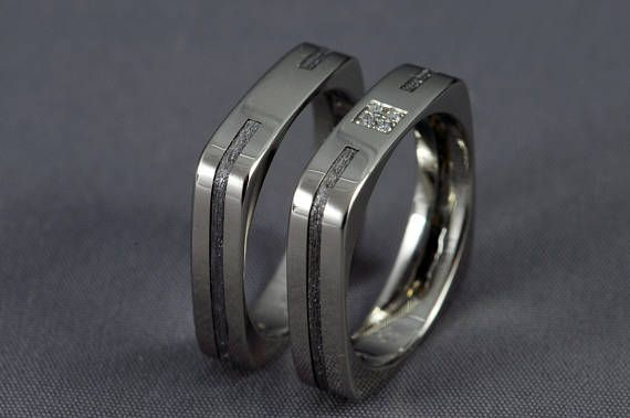 Meteorite Pair White gold wedding ring set engagement ring
