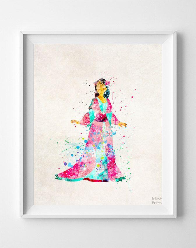 Mulan Print, Mulan Watercolor, Disney Poster, Office Wall Art, Dorm Decorations, Bathroom Wall Art, Home Goods, Valentines Day Gift by InkistPrints on Etsy https://www.etsy.com/listing/247893165/mulan-print-mulan-watercolor-disney