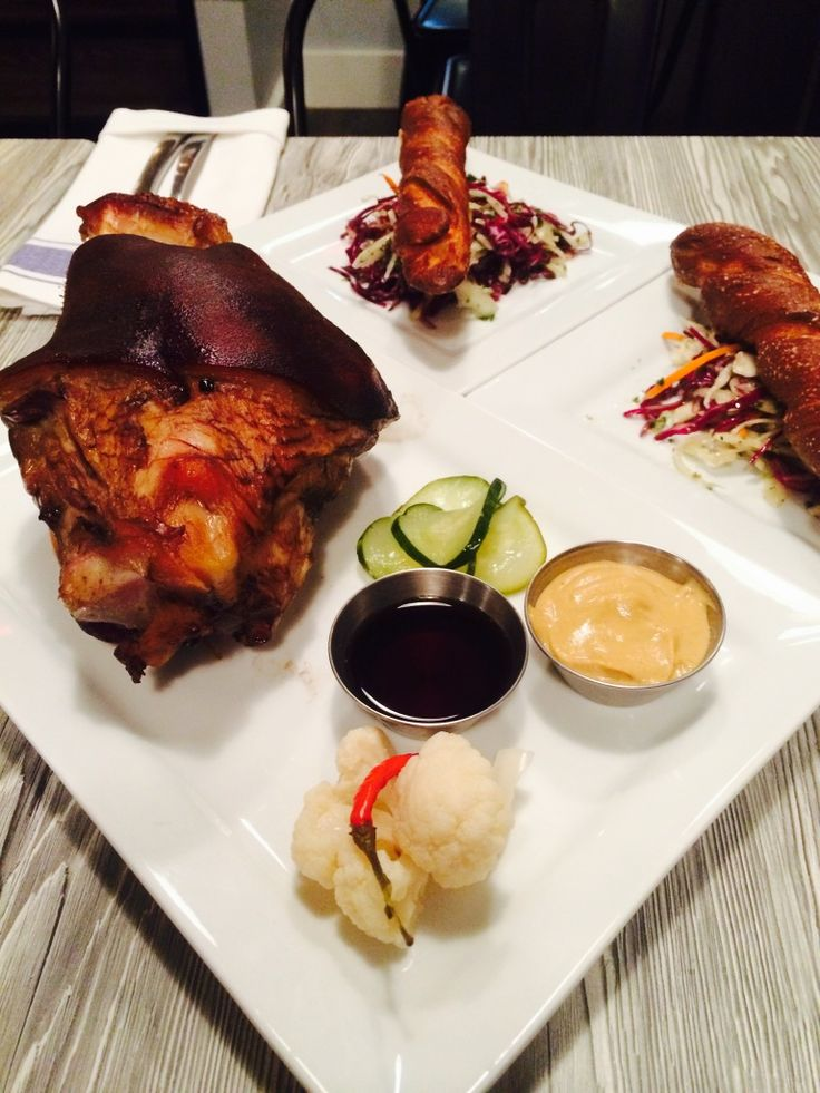 Smoked Pork Hock & Fresh Baked Pretzels at The Smokery Kitchen & Bar #thesmokerystouffville @thesmokery.ca