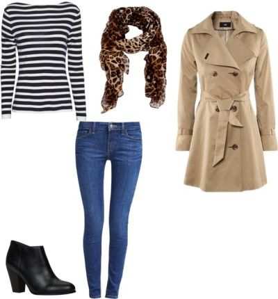 20 piece vacation packing list for Paris, NYC, Chicago, Europe, you name it!  Works great for spring, fall or winter.  Includes 7 days of outfits.  Trench coat, striped shirt, jeans and leopard scarf.