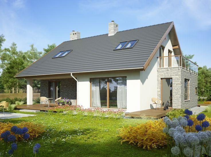 Dom z użytkowym poddaszem, przeznaczony dla 5-7-osobowej rodziny.