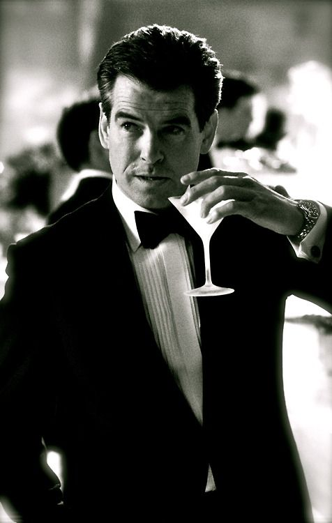 "Pierce Brosnan (007):""shaken, not stirred"" unless he's stirring with his finger. Bahaha"
