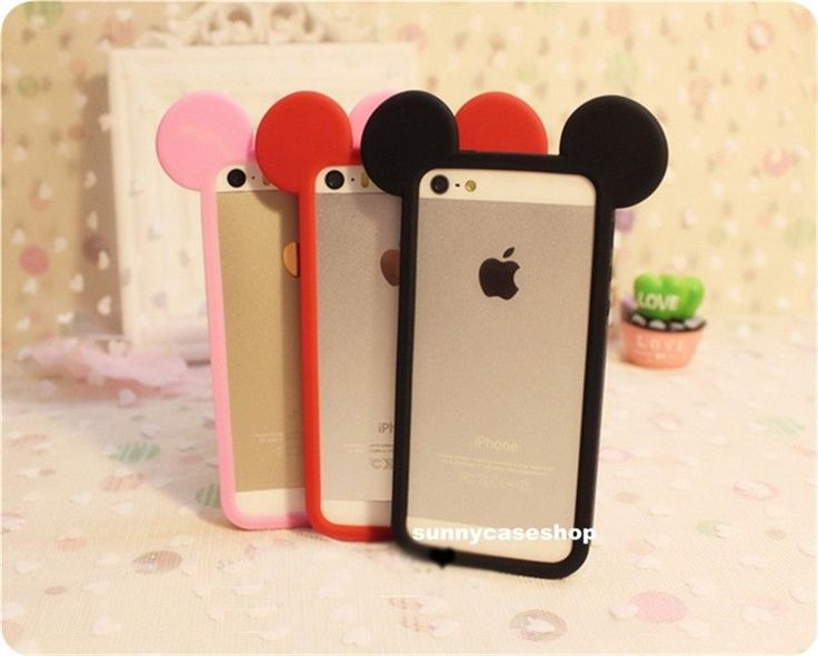 Cute 3D Mickey Minnie Mouse Ear Frame Silicone Soft Bumper Case for iPhone 5S 5C