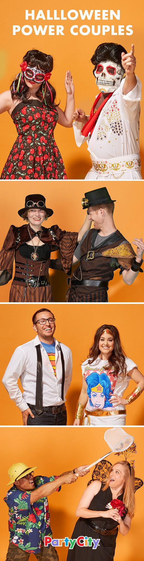 Don't want to DIY but looking to impress as a power couple this Halloween? Kill it as a zombie-rockabilly duo or gear up for pics as a steampunk pair. To keep it casual, go as superheroes in t-shirts or grab accessories for a butterfly-catching couple. See our round-up of 16 ideas for inspo!
