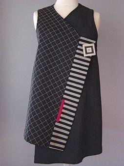 Wrapper Shoulder Vest in Brown and Black by Juanita Girardin: