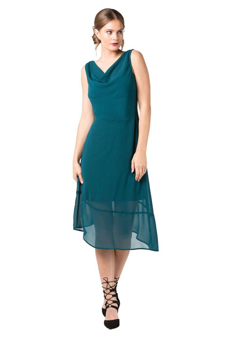 Teal Cowl Neck Dresses | Annah Stretton | Designer Wear