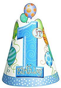 Blue Balloons 1st Birthday Party Hats, Pack of 8: Amazon.co.uk: Toys & Games