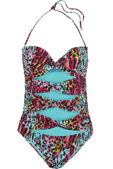 Matthew Williamson - Akita Leopard-print Cutout Swimsuit - Blue - UK10