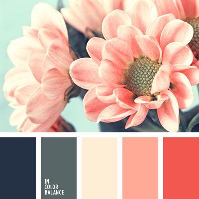 алый, бежево-персиковый цвет, бежевый, красный, оранжевый, персиковый, подбор цвета, серо-синий, синий, синий и красный, цветовое решение, яркий красный.