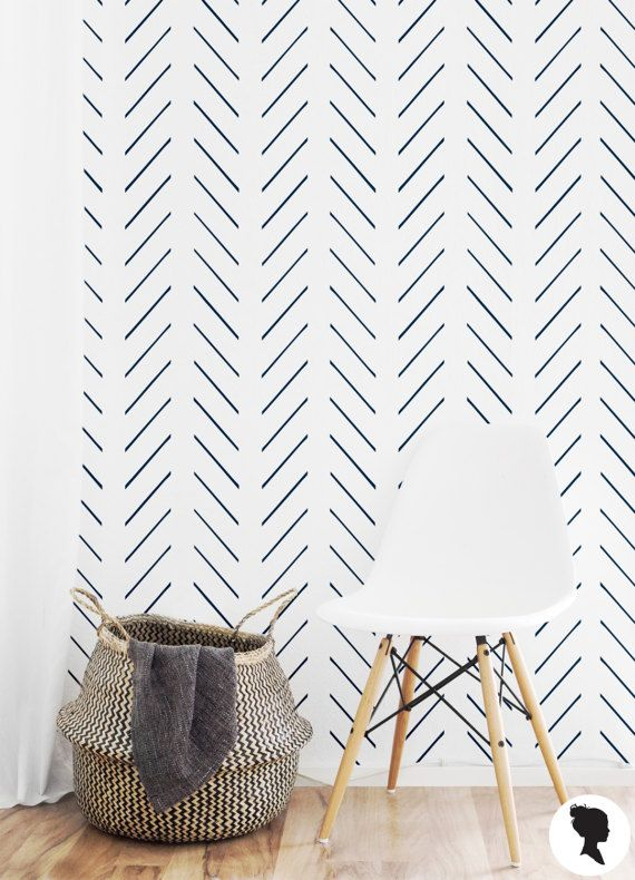 Delicate Herringbone Wallpaper / Traditional or Self by Livettes
