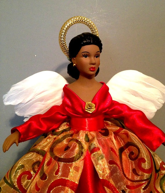african american christmas angel tree top black angel doll holiday treetop free personalization - Black Christmas Angels