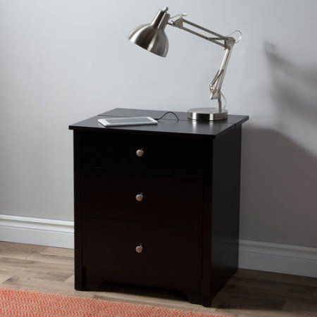 south shore vito nightstand with charging station and drawers pure black