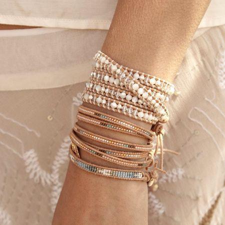 beaded bracelets, Neutral stack bracelets http://www.justtrendygirls.com/neutral-stack-bracelets/