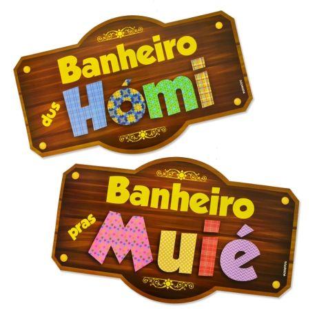 Placas para Banheiro Kaixote Festa Junina c/ 02 unidades