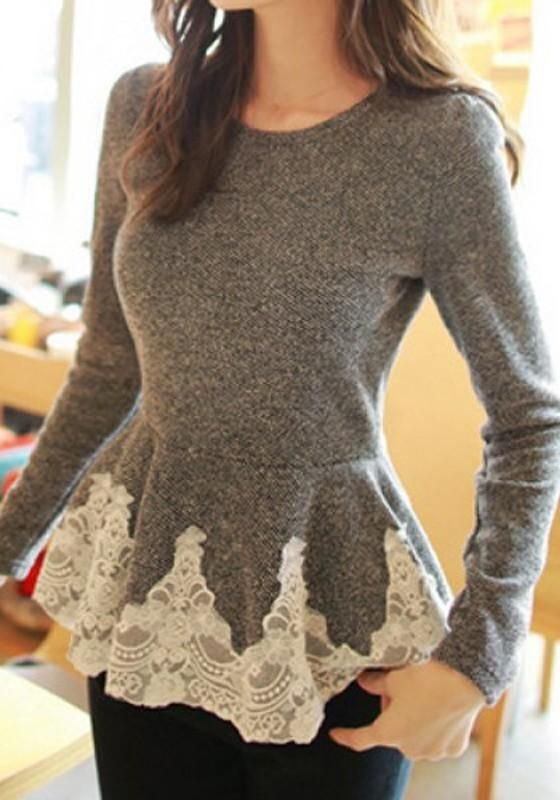 Grey Patchwork Lace Trim Corset Round Collar Long Sleeve Slim Sweet Fashion Pullover Sweater