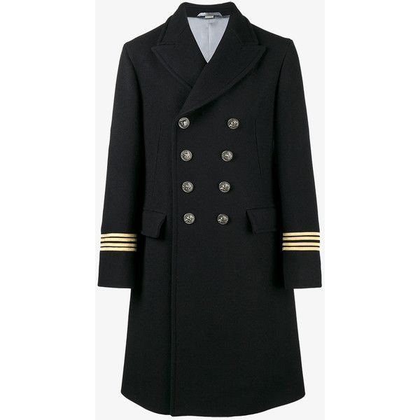 Gucci embroidered double-breasted coat ($4,240) ❤ liked on Polyvore featuring men's fashion, men's clothing, men's outerwear, men's coats, blue, mens double breasted coat, g star mens coats, mens double breasted military coat, mens blue coat and mens military style coat