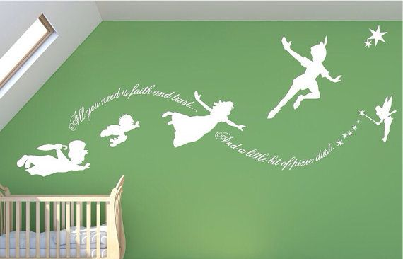peter pan wall decal pixie dust mural stickers nursery fantasy fairy tale wall art k006. Black Bedroom Furniture Sets. Home Design Ideas