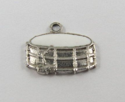 Snare Drum With White Enamel Sterling Silver by SilverHillz