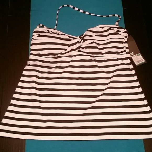 Black and White Tankini Top Mossimo tankini (optional halter strap) top with black and white stripes and removable pads. *Top only* Mossimo Supply Co Swim Bikinis