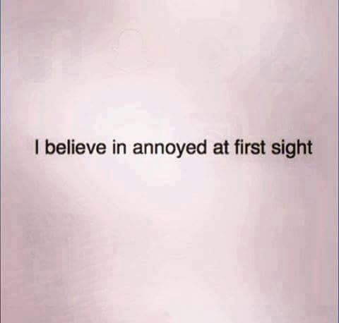 I believe in annoyed at first sight :D #intj                                                                                                                                                      More