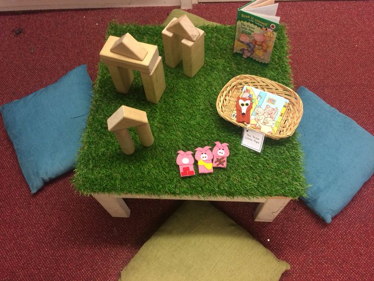 Some children have been interested in making a house for the three little pigs. I have placed the story and the finger puppets as an enhancement to support their play