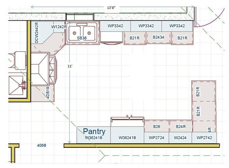 Kitchen floor plan no island which helps for aging in for Kitchen floor plans