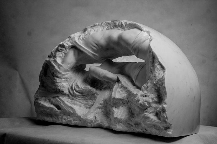 Michal Jackowski, NOKTURN, 70 x 40 x 25 cm, Carrara white marble, 2016  #sculptures #woman #act #humans #antique #pinart #creative #passion #love #art #classic #feather #soft #exhibition #polishart