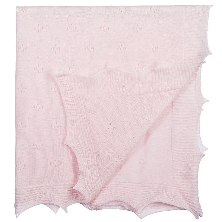 Paz Rodriguez - Baby Girls Pale Pink Wool Knitted Shawl (106cm)