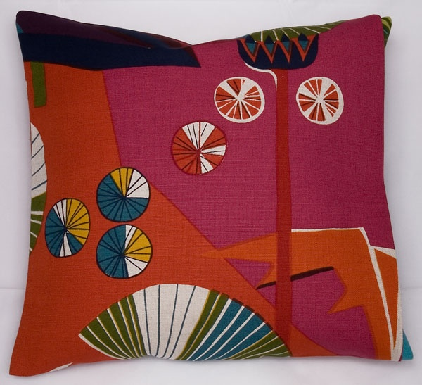Cushion cover Tistlar, red - Cushion covers - Hand printed textile & interior decoration @ Jobs handtryck