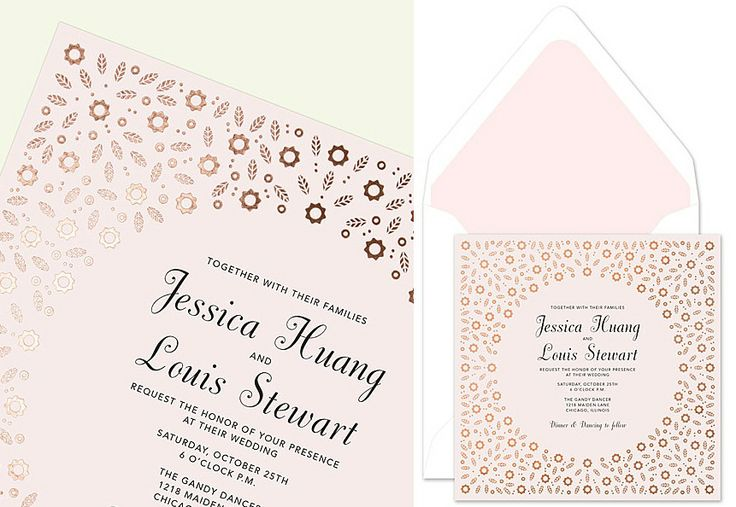 A delicate floral border, foiled in elegant rose gold on pale pink stock, frames your personalized wedding invitation text.