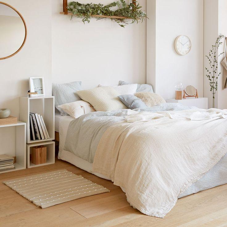couvre lit et housse de coussin lin mini chevrons couleur. Black Bedroom Furniture Sets. Home Design Ideas