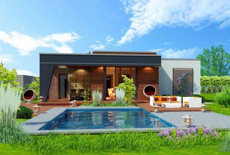 To rozłożysty parterowy, bardzo komfortowy dom o niezbyt wielkim metrażu. Elegancki, wysmakowany, o dobrze dobranych proporcjach bryły i wyważonym detalu. Ciekawe nowoczesne elewacje zapewniają atrakcyjny wygląd.